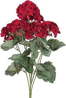 """Vickerman Everyday Artificial Red Geranium Bush 19.5"""" Long - Premium Faux Floral Home Decor - Maintenance Free Flowers"""