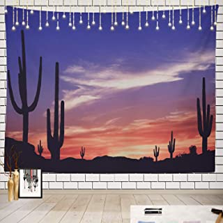 Batmerry Southwest Tapestry, Arizona Saguaro Cactus Southwestern Sunset Picnic Mat Beach Towel Wall Art Decoration for Bedroom Living Room Dorm, 51.2 x 59.1 Inches, Pink Blue Red