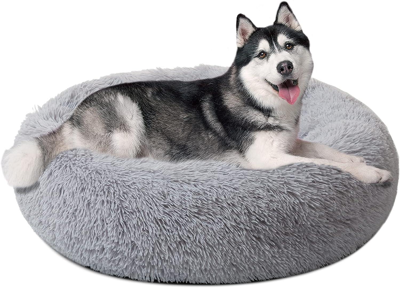 DanceWhale Redonda Cama Perro Gato Cama Cama de Felpa para Mascota Lavable Sofa Suave Cachorro Calentito Cojín(80cm, Gris)