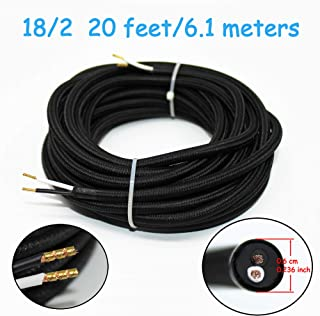 18/2 20Ft Vintage Electrical Wire Lamp Cord Rayon Covered Braided Black 18 AWG 2 Conductor Flexible Fabric Pendant Lighting Power(10A)