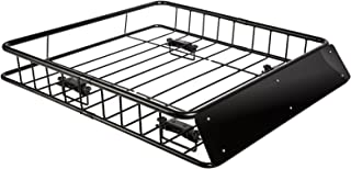 """OxGord Roof Rack Cargo Carrier - 44"""" x 40 x 6 Roof-Top Luggage Basket - Universal Travel Bag Holder System"""
