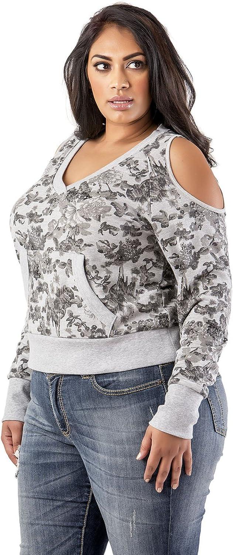 Poetic Justice Plus Size Curvy Women's Grey Floral Printed V-Neck Sweatshirt