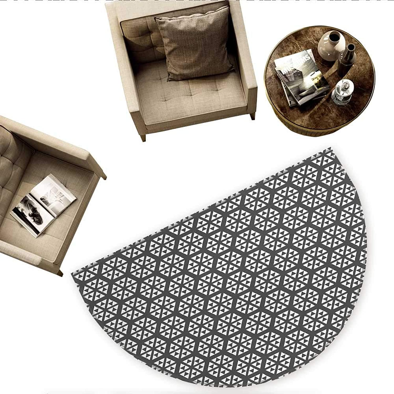 Geometric Semicircle Doormat Monochrome Geometric Triangles Fractal Inspired Forms Trendy Modern Artwork Halfmoon doormats H 70.8  xD 106.3  Grey and White