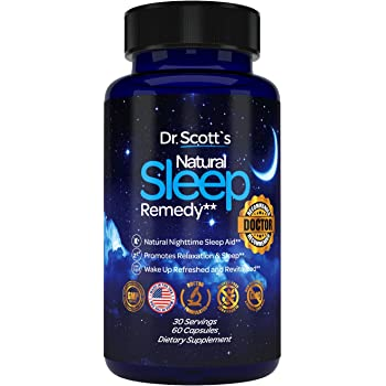 Dr. Scott's Natural Sleep Aid | from Sleeplessness to Restfulness with 5 Mg Melatonin, Theanine, Magnesium, Tryptophan, Valerian Root | Natural Sleeping Pills | Non-Habit Forming Sleeping Supplement