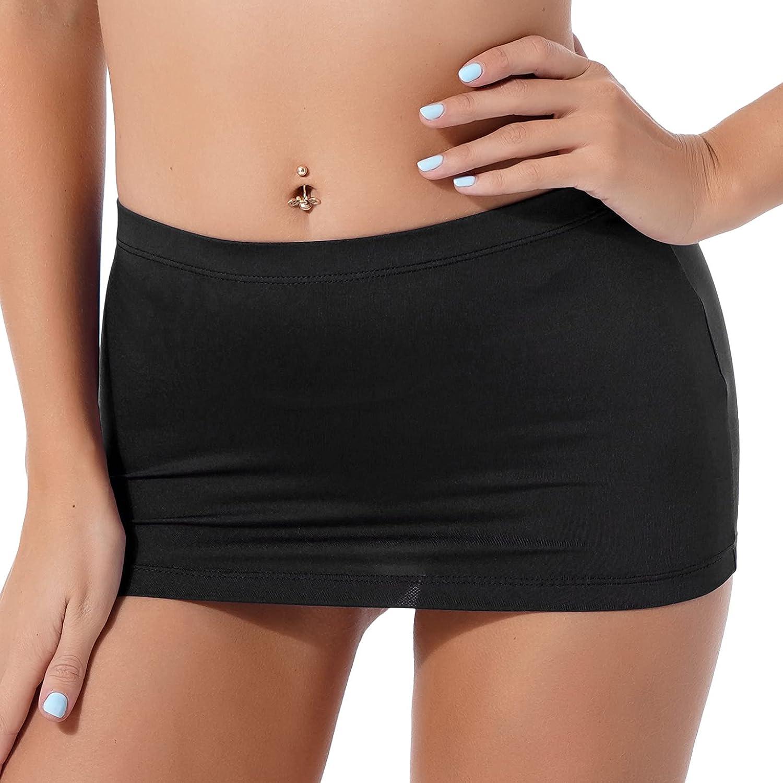 LiiYii Women's Pencil Mini Skirts Low Waist Stretchy Slim Bodycon Skirts Club Wear Casual Short Skirt