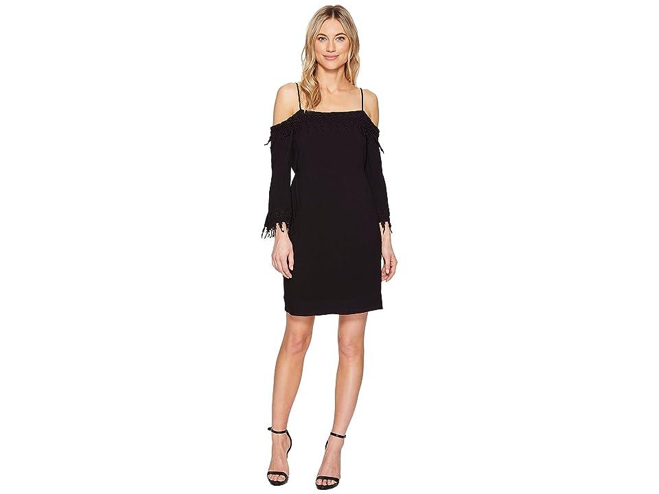 kensie Crosshatch Rayon Dress KS5U7108 (Black) Women