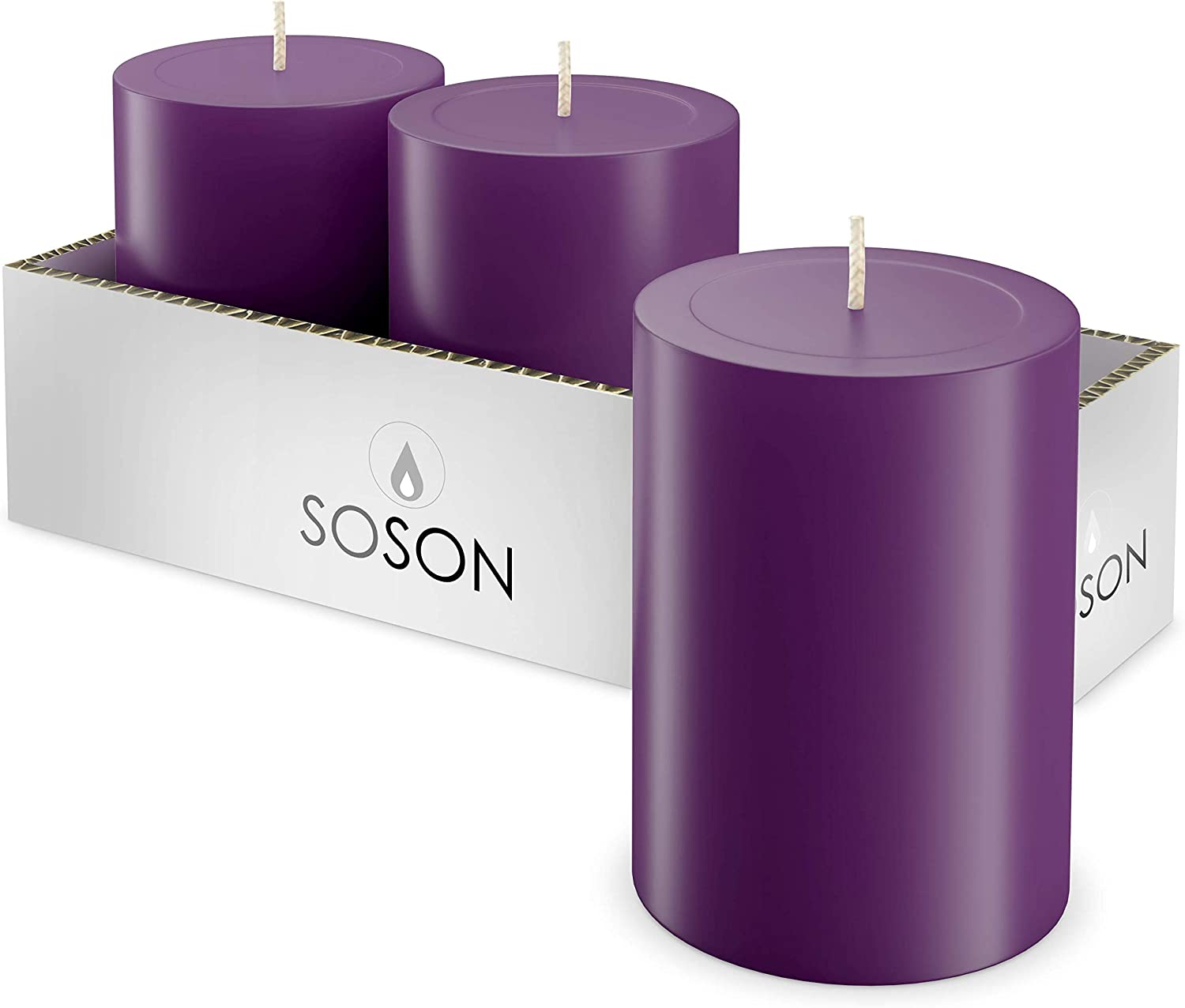 Simply Soson Smooth 3x4 Eggplant Purple Candles | Pillar Candles for Home | Unscented Candles & Dripless Pillar Candles | Long Lasting Candles | Large Candle for Home | 3 Pack of Candles