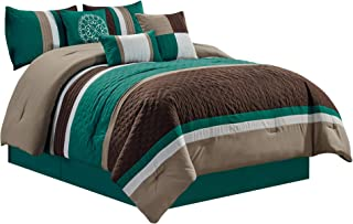 Chezmoi Collection Boston 7-Piece Pinsonic Quilted Trellis Quatrefoil Design Striped Pleated Bedding Comforter Set (Queen, Teal)