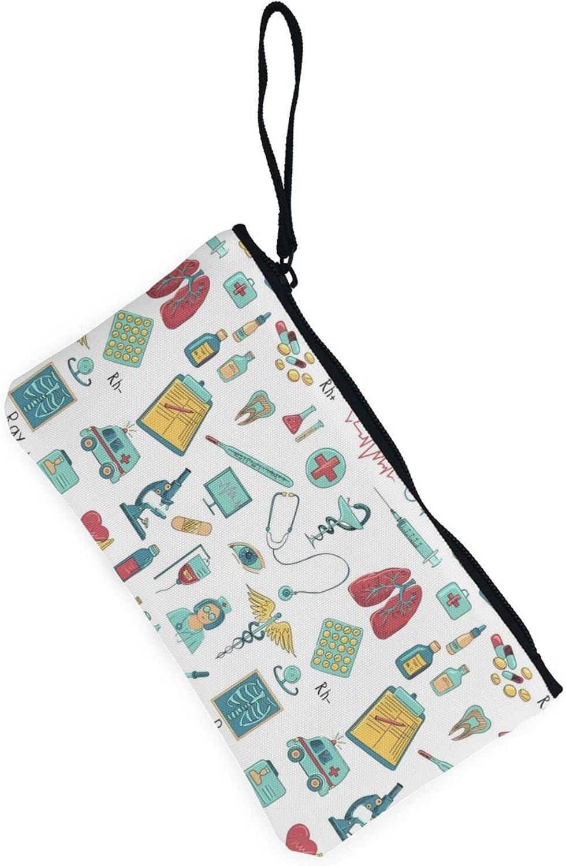 AORRUAM Abstraction biology chemistry Canvas Coin Purse,Canvas Zipper Pencil Cases,Canvas Change Purse Pouch Mini Wallet Coin Bag