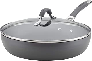 Circulon 83907 Radiance Deep Hard Anodized Nonstick Frying Pan / Fry Pan / Hard Anodized Skillet with Lid  - 12 Inch, Gray