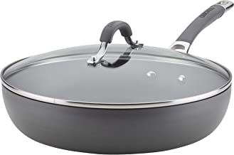 Circulon 83907 Radiance Deep Hard Anodized Nonstick Frying Pan / Fry Pan / Hard Anodized Skillet with Lid - 12 Inch, Grey