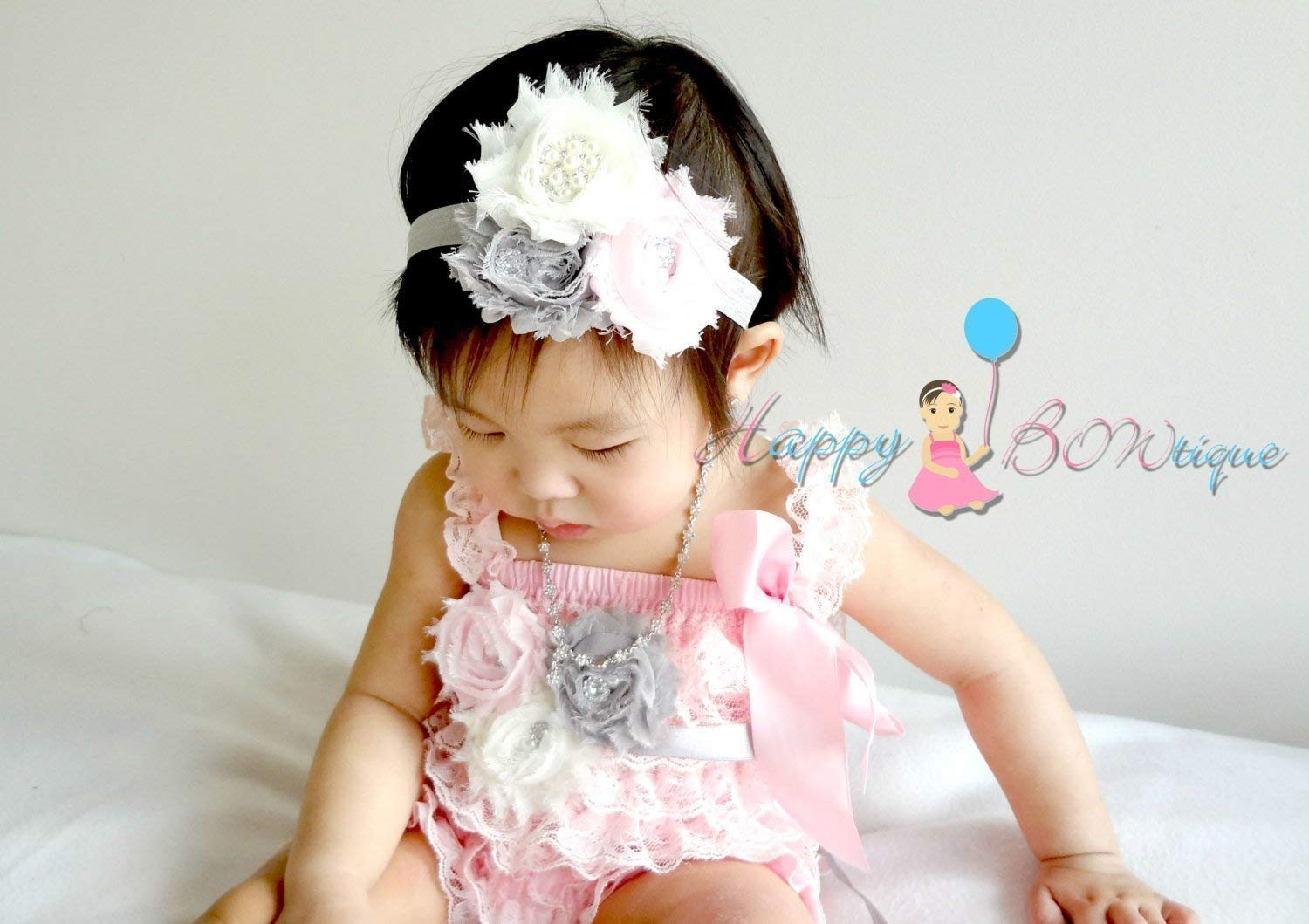 3pc Ivory Pink Grey Lace Romper Petti Baby set New York Mall Special Campaign
