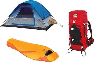 Alpinizmo High Peak USA Ultra Lite 0F Sleeping Bag + 5 Men Tent & 40 Liter Pack, Red/Orange/Blue, One Size