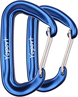 Yoport Camping Hammock Carabiner 12 KN Snag-Free 2 Pack / 4 Pack Wiregate Carabiners Biners - Rated 2,697 Pounds for Hammocks, Camping, Backpacking, Home, Rv, Fishing, Hiking, Traveling