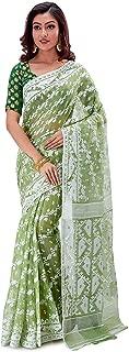 SareesofBengal Women's CottonSilk Handloom Jamdani Dhakai Saree Green