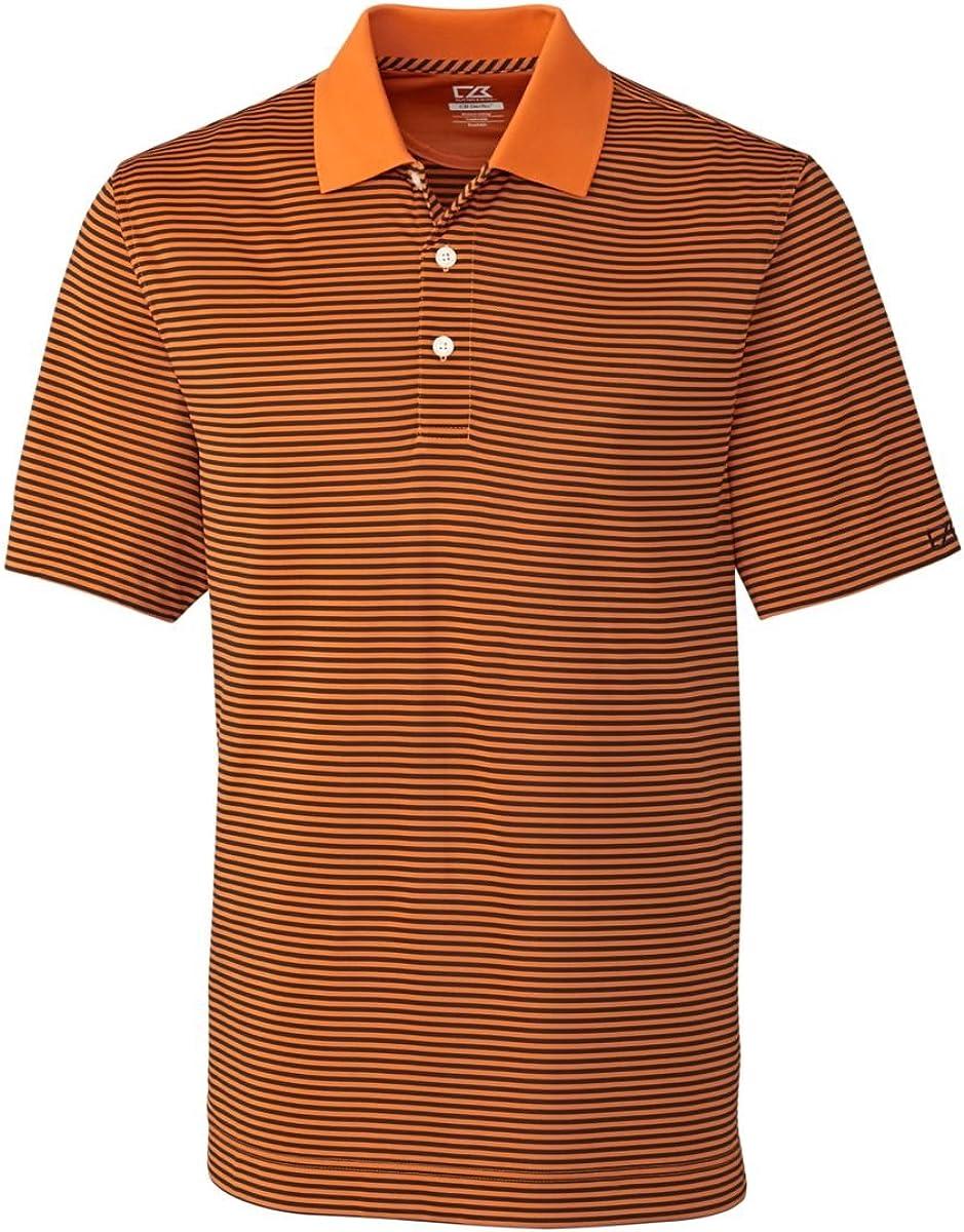 Cutter & Buck Big and Tall Drytec Trevor Stripe Polo (3XTall, Orange Burst/Navy)