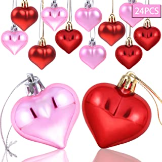 AOPOO Heart Ornament for Christmas, Valentine Ornaments Heart Shaped Ornaments for Wedding Home Party Decoration, 2 Types Matt and Glossy Surface (Red and Pink)