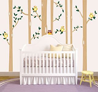 Nursery Birch Tree Wall Decal Set With Owl Birds Forest Vinyl Sticker, Birch Tree Wall Decal, Birch Tree Decal Baby Boy Whimsical Owls (7 trees) #1321 (108
