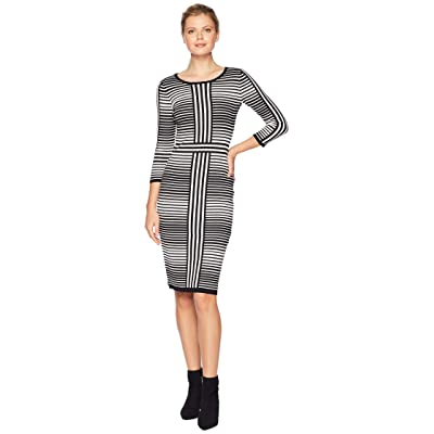 Gabby Skye Stripe Fitted Sweater Dress (Black/Ivory) Women
