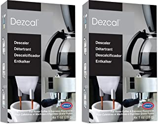 Urnex Dezcal Coffee and Espresso Descaler and Cleaner - 2 Pack - Activated Scale Remover Use with Home Coffee Brewers Espresso Machines Pod Machines Capsule Machines Kettles Garmet Steamers