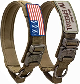 Tactical Dog Collar with USA American Flag - Military Dog Collar Thick with Handle - Heavy Duty Nylon K9 Adjustable Metal ...