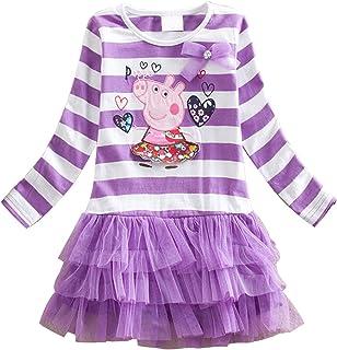 LEMONBABY Peppa Pig Cartoon Little Girls Spring Fall Long Sleeve Tutu Dress