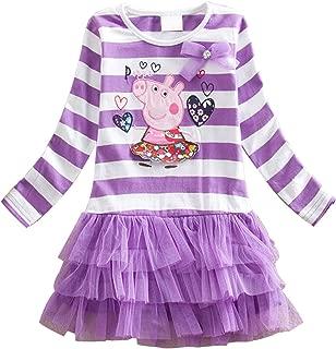 Little Girls Summer Peppa Pig Lapel Rainbow Color Dress