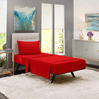 iBed Home Solid Bedding Set, Red, Single - 160 x 240 cm, FLTSNGL12, 2 Pieces