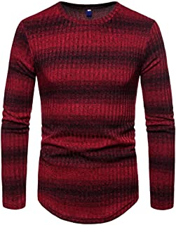FIRERO Mens Gradient Stripe Winter Pullover Knitted Top Striped Sweater Outwear Blouse