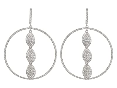 Nina Large Hoop with Petals Earrings (Rhodium/White CZ) Earring