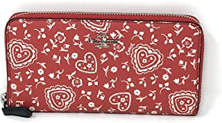 F67515 ACCORDION ZIP WALLET WITH LACE HEART PRINT RED