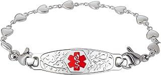 Divoti Custom Engraved Medical Alert Bracelets for Women, Stainless Steel Medical Bracelet, Medical ID Bracelet w/Free Engraving – Beautiful Olive Tag w/Heart Link – Color/Size