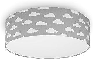 youngDECO Taklampa för barnrum, 3 x E27, Ø45 cm stor lampskärm av textil, moln på pastellgrå, skandinavisk barnrumsdekorat...