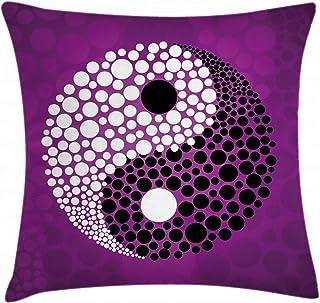 ABAKUHAUS Zen Funda para Almohada, Balance de la armonía de Ying Yang, Apto para Uso en Interiores y Exteriores Colores Firmes, 40 x 40 cm, Negro Morado Blanco
