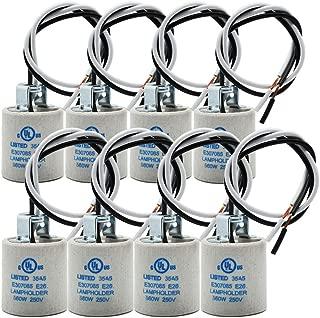 E26 Socket,Ceramic Standard Medimun Screw Socket E26 E27 Bulb Lamp Holder,E26 Light Socket with Wire Lead for Halogen Incandescent LED Light Bulb (8-Pack)