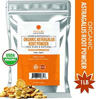 Organic Astragalus Root Powder 1 Pound, Supports Immune Vitality, Powdered Astragalus Root in Resealable Bag, USDA Certified Organic, Gluten-Free & Kosher