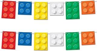 "Beistle 52137 2 Piece Building Blocks Pennant Banners, 9"" x 6', Multicolor"