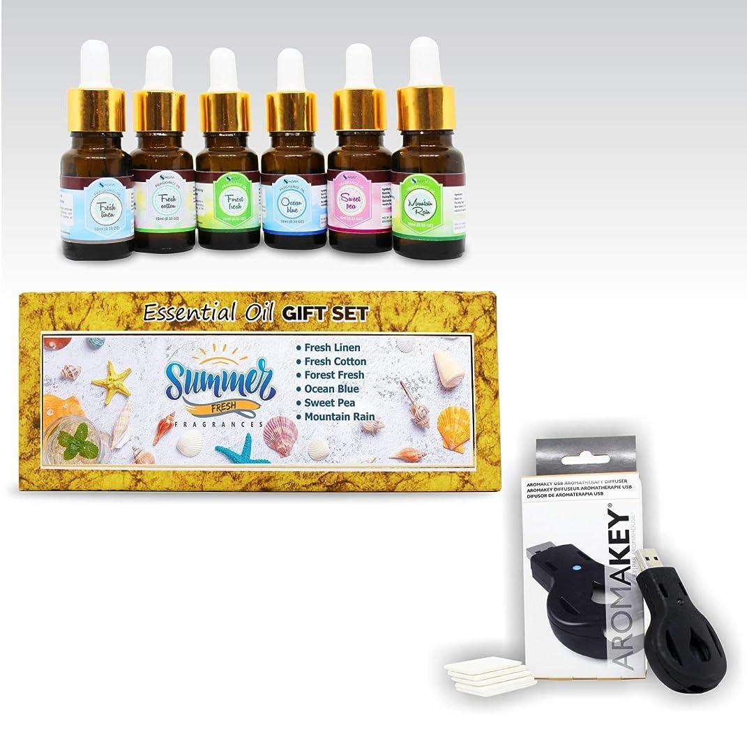 はちみつスクラッチ見出しAromatherapy Essential Oils - Summer Fresh (Pack of 6) 100% Pure & Natural Plus Aromakey USB Personal Diffuser, Humidifier, Air Freshener For Office, Car, etc