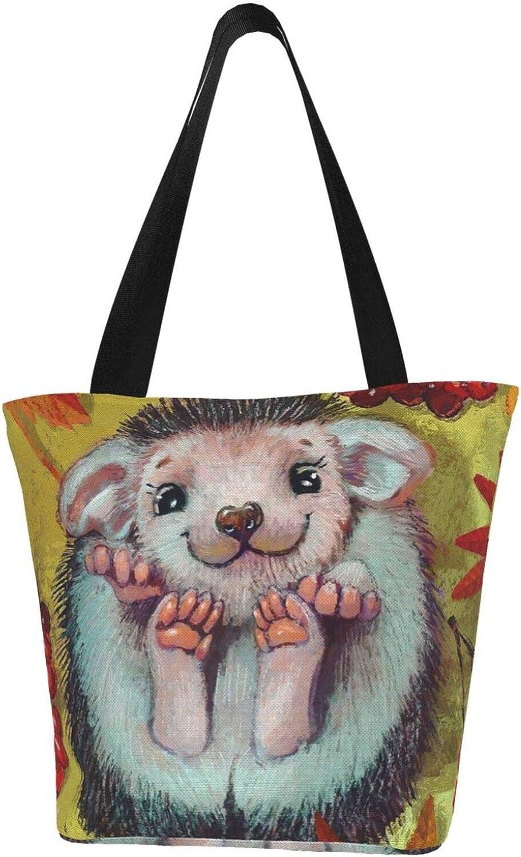 Autumn Cute Smiling Hedgehog Animal Fall Themed Printed Women Canvas Handbag Zipper Shoulder Bag Work Booksbag Tote Purse Leisure Hobo Bag For Shopping