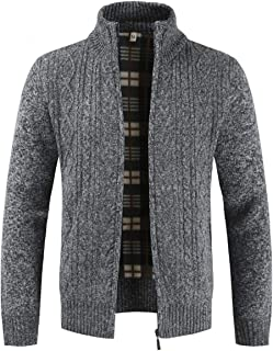 Mens Knitted Cardigan Thick Sweater Full Zip Stand Collar Fleece Lined Winter Coat