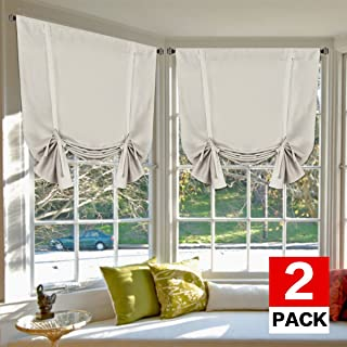 H.VERSAILTEX Blackout Innovated Tie Up Shade & Curtain Thermal Insulated Rod Pocket Curtain Panel (Set of 2 Panels, 42