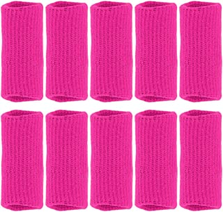 Finger Sleeves, GranVela 10PCS Professional Nylon Fingerstall Finger Protective Cover for Basketball, Volleyball, Tennis, Badminton and More (Pink)
