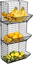 Sorbus 3-Tier Fruit Stand & Wall Mount Kitchen Storage Bin Multipurpose Foldable Organizer, Great for Kitchen, Bathroom, L...