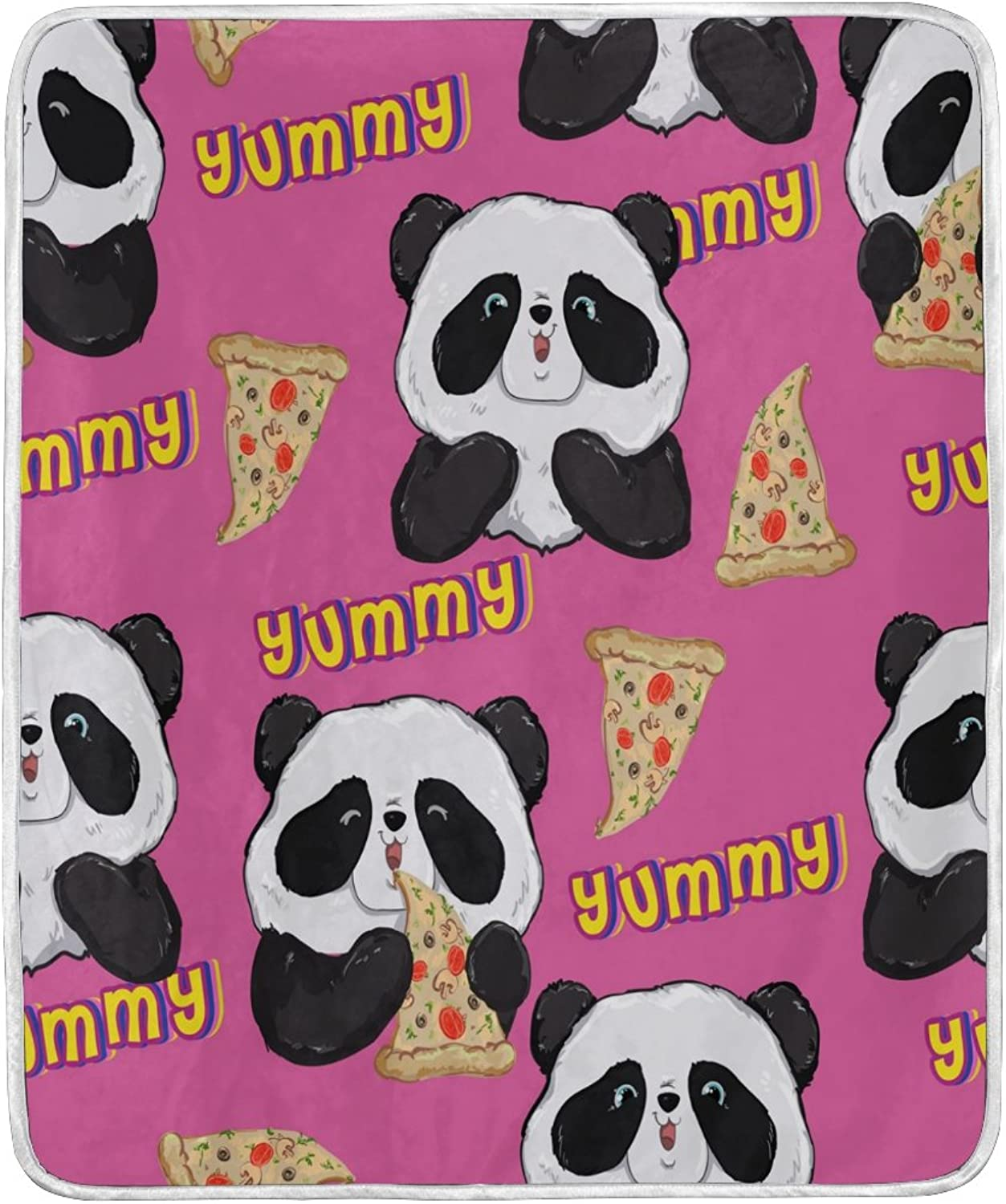 ALAZA Home Decor Cute Panda Pizza Blanket Soft Warm Blankets for Bed Couch Sofa Lightweight Travelling Camping 60 x 50 inch Throw Size for Kids Boys Women
