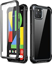 Dexnor Compatible with Google Pixel 4 Case with Built-in Screen Protector Slim Clear Rugged Protective Shockproof Hard Defender Heavy Duty Bumper Cover for Boys Men Girls Women Black