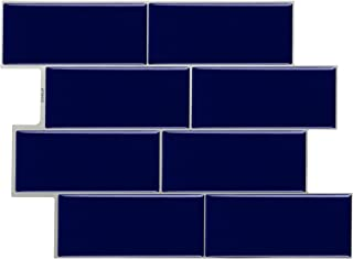 STICKGOO Peel and Stick Subway Tile, Stick on Vinyl Tiles Backsplash for Kitchen & Bathroom 6 Sheet (Deep Blue)