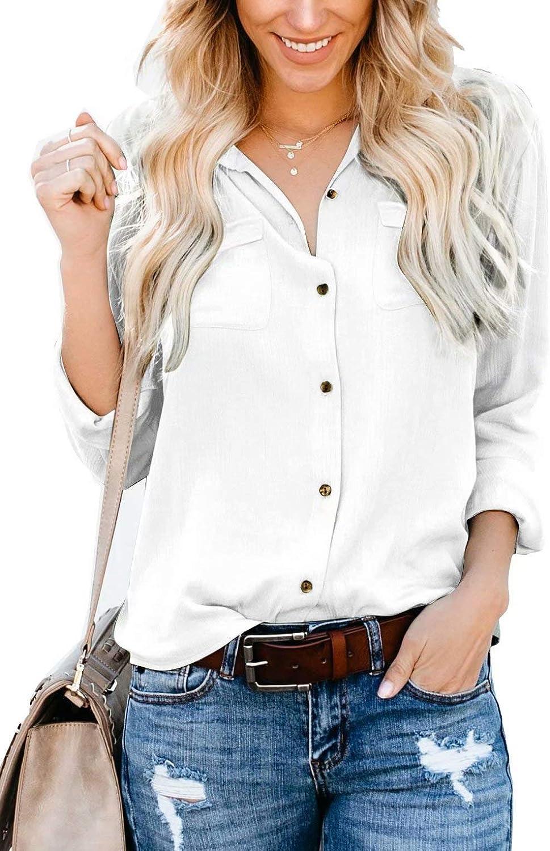 Hiistandd Women Long Sleeve Blouse Tops Basic Simple Button Down Shirt ……