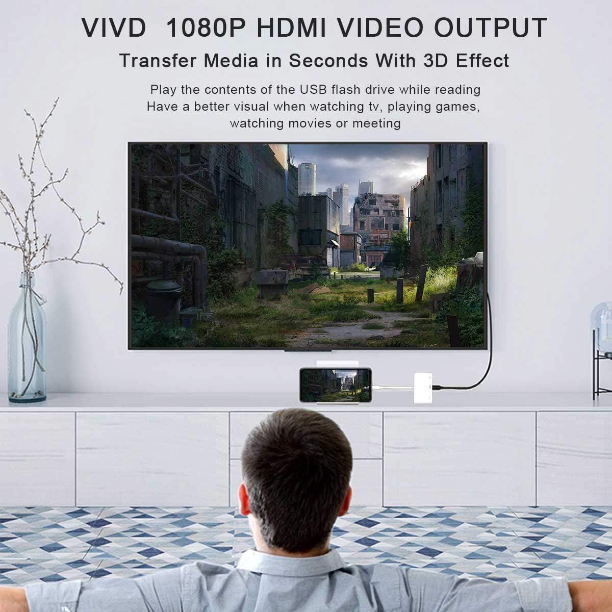 Adaptateur AV Num/érique 1080P Adaptateur HDMI OTG Pad Air//Mini//Pod Adaptateur Cam/éra USB 3 en 1 avec Port dalimentation Connecteur D/écran de Synchronisation Compatible Phone 12//11// X// 8//7//6
