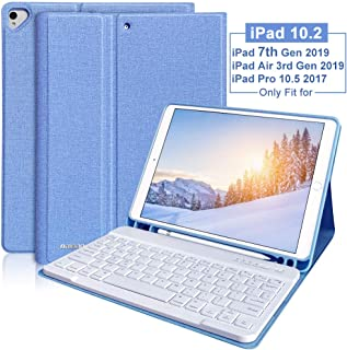 iPad 7th Generation Case with Keyboard for iPad 10.2 2019,iPad 10.2 Keyboard Case for iPad 7th 10.2 2019/iPad Air 3 10.5 2019/iPad Pro 10.5 2017 Detachable Bluetooth Keyboard Cover with Pencil Holder
