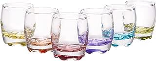 Vibrant Splash Clear Shot Glass Set, Modern Barware Set of 6 Assorted Colors, 2.75 oz